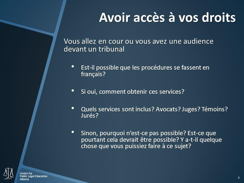 Centre for Public Legal Education Alberta 7 Avoir accès à vos droits Vous allez en cour ou vous avez une audience devant un tribunal Est-il possible que les procédures se fassent en français.