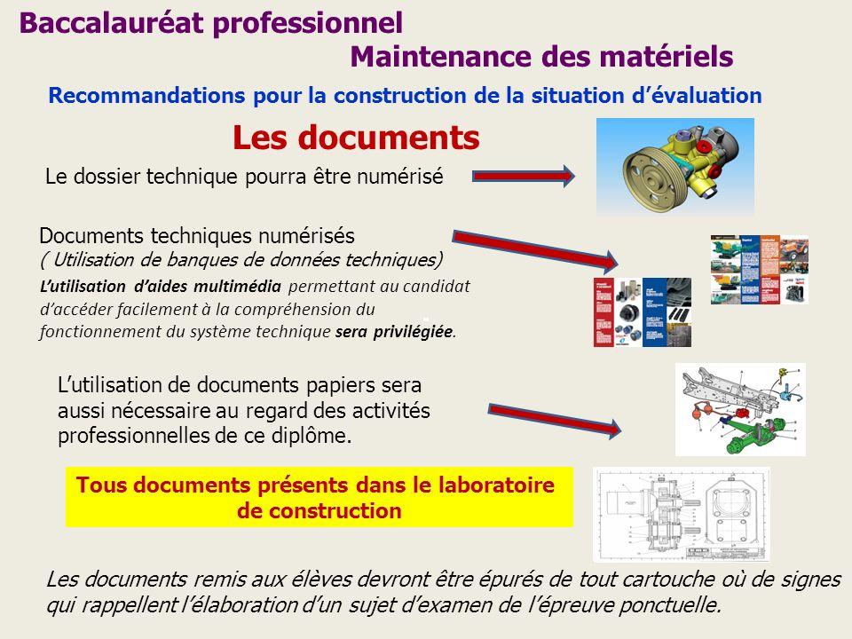 Les documents Le dossier technique pourra être numérisé Documents techniques numérisés ( Utilisation de banques de données techniques) Lutilisation de