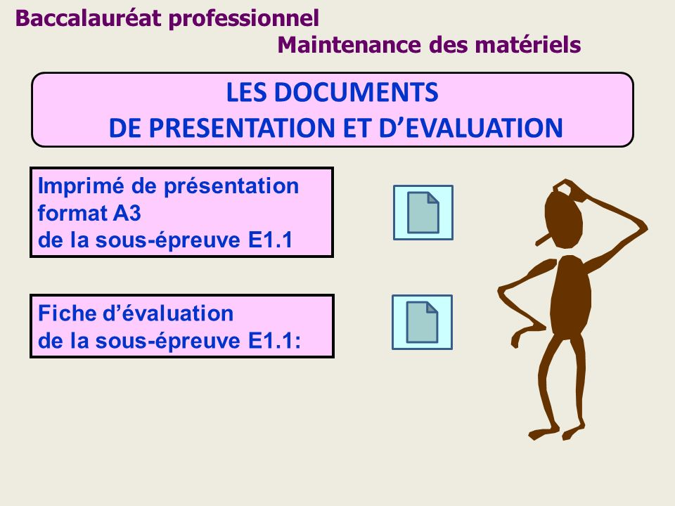 LES DOCUMENTS DE PRESENTATION ET DEVALUATION Imprimé de présentation format A3 de la sous-épreuve E1.1 Fiche dévaluation de la sous-épreuve E1.1: Bacc