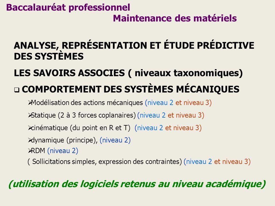 ANALYSE, REPRÉSENTATION ET ÉTUDE PRÉDICTIVE DES SYSTÈMES LES SAVOIRS ASSOCIES ( niveaux taxonomiques) COMPORTEMENT DES SYSTÈMES MÉCANIQUES Modélisatio