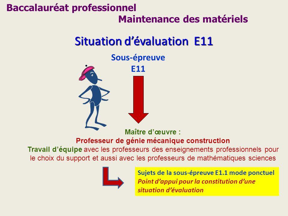 Situation dévaluation E11 Sous-épreuve E11 Maître dœuvre : Professeur de génie mécanique construction Travail déquipe avec les professeurs des enseign