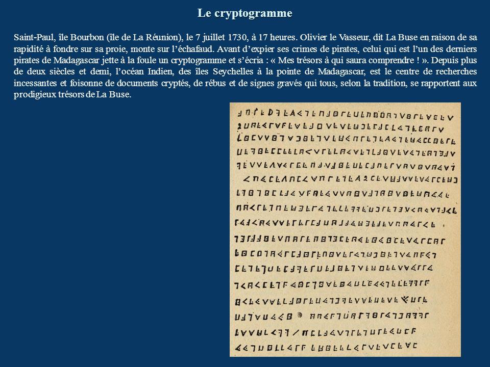 Le cryptogramme Saint-Paul, île Bourbon (île de La Réunion), le 7 juillet 1730, à 17 heures. Olivier le Vasseur, dit La Buse en raison de sa rapidité