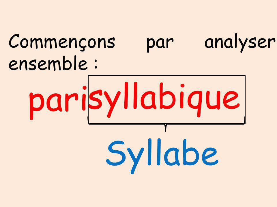 Commençons par analyser ensemble : syllabique pari Syllabe