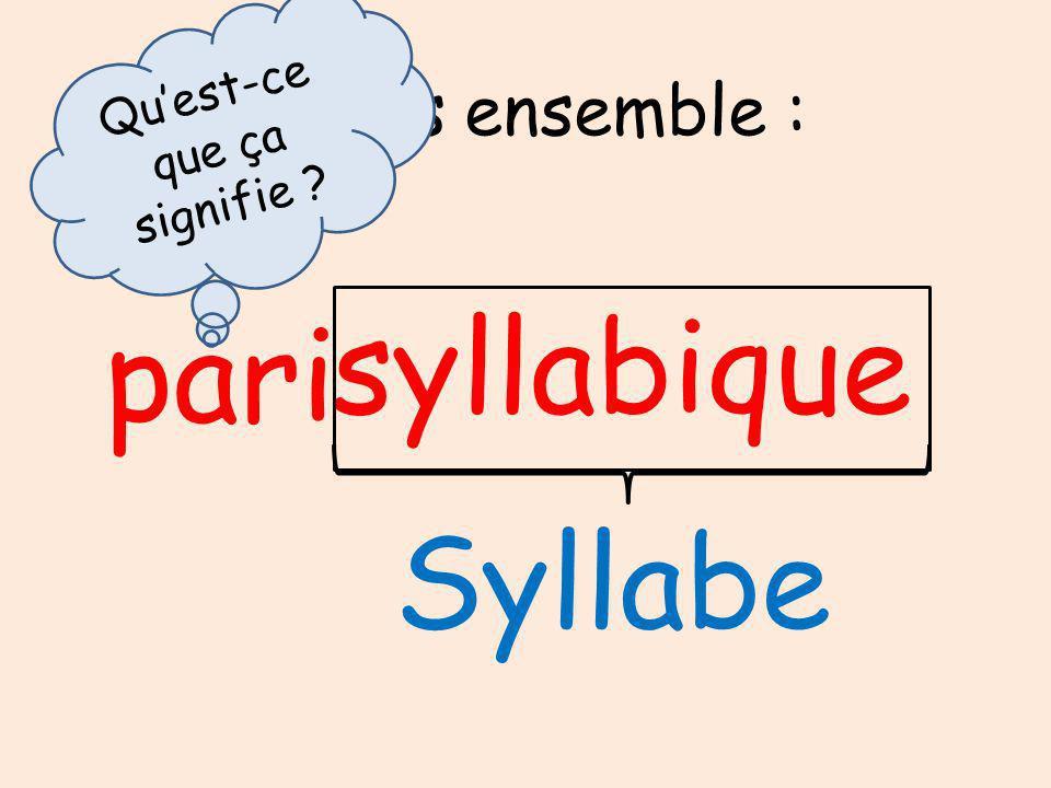 Continuons ensemble : syllabique pari Syllabe Quest-ce que ça signifie ?
