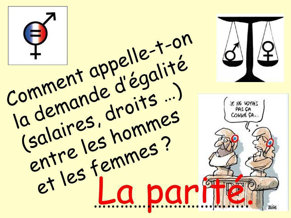 Comment appelle-t-on la demande dégalité (salaires, droits …) entre les hommes et les femmes .