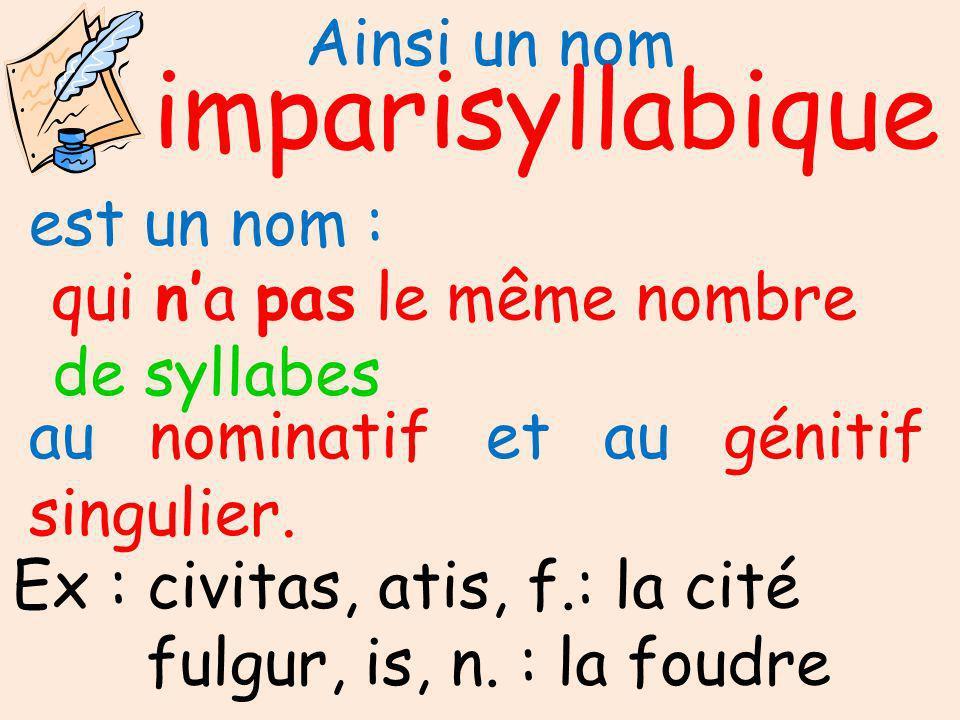 Ainsi un nom syllabique impari de syllabes est un nom : qui na pas le même nombre au nominatif et au génitif singulier.
