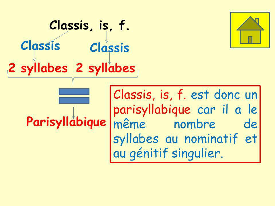 Classis, is, f.Classis 2 syllabes Classis 2 syllabes Parisyllabique Classis, is, f.