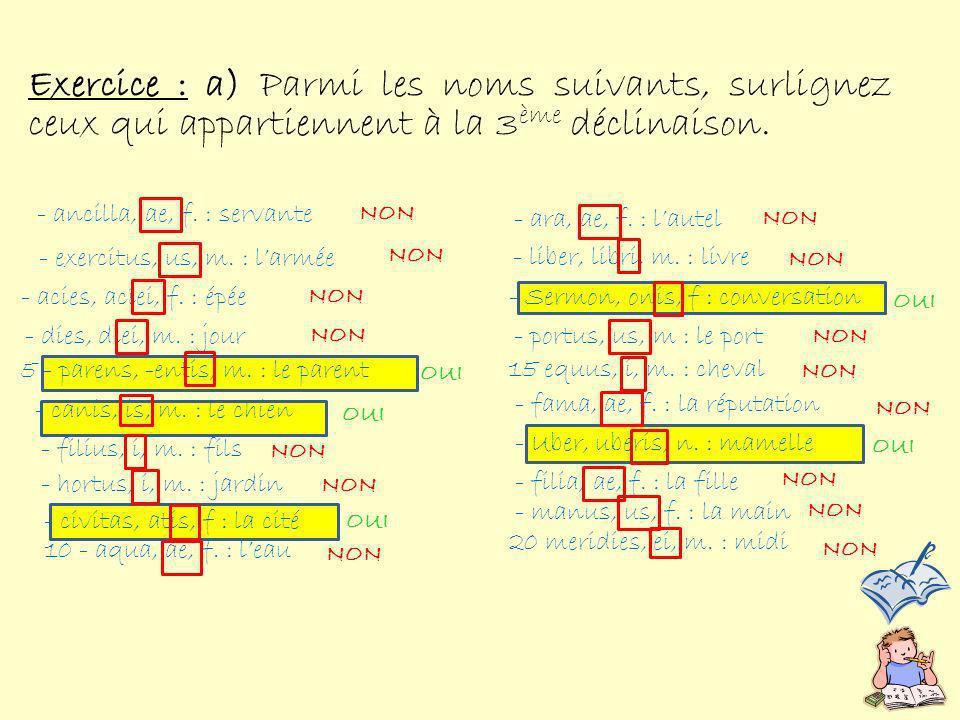 Dites si ces noms sont des noms parisyllabiques (P), Imparisyllabiques (I) ou faux-imparisyllabiques (F.I) .