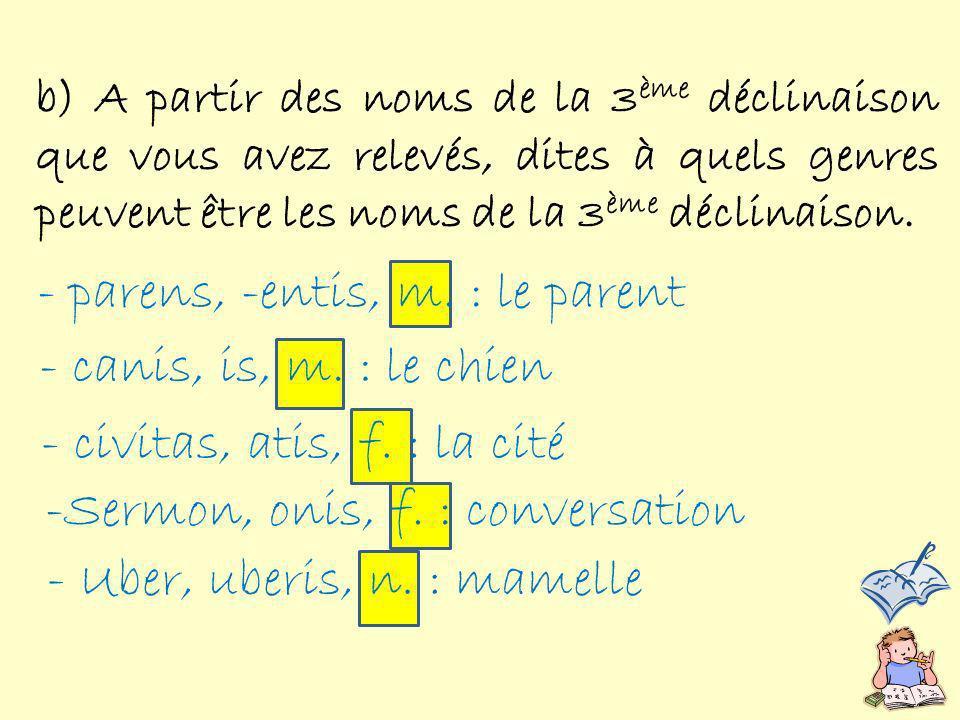 Ainsi, les noms de la 3 ème déclinaison peuvent être du genre N.B.