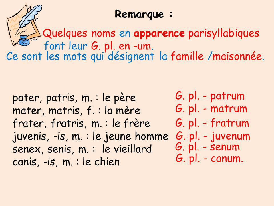 Quelques noms en apparence parisyllabiques font leur G.