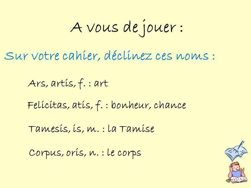 Sur votre cahier, déclinez ces noms : A vous de jouer : Ars, artis, f.