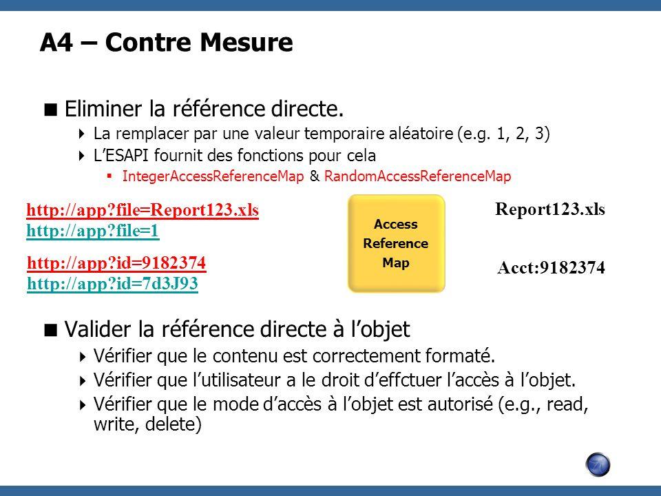 A4 – Contre Mesure Eliminer la référence directe. La remplacer par une valeur temporaire aléatoire (e.g. 1, 2, 3) LESAPI fournit des fonctions pour ce