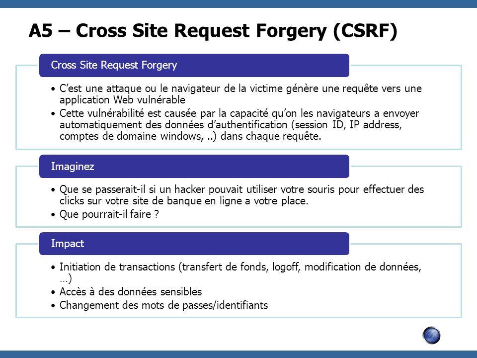 A5 – Cross Site Request Forgery (CSRF) Cest une attaque ou le navigateur de la victime génère une requête vers une application Web vulnérable Cette vu