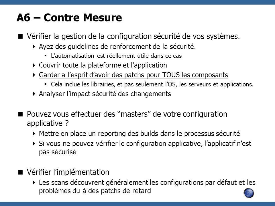 A6 – Contre Mesure Vérifier la gestion de la configuration sécurité de vos systèmes. Ayez des guidelines de renforcement de la sécurité. Lautomatisati