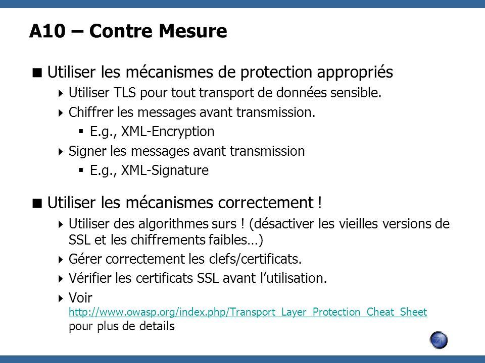 A10 – Contre Mesure Utiliser les mécanismes de protection appropriés Utiliser TLS pour tout transport de données sensible. Chiffrer les messages avant