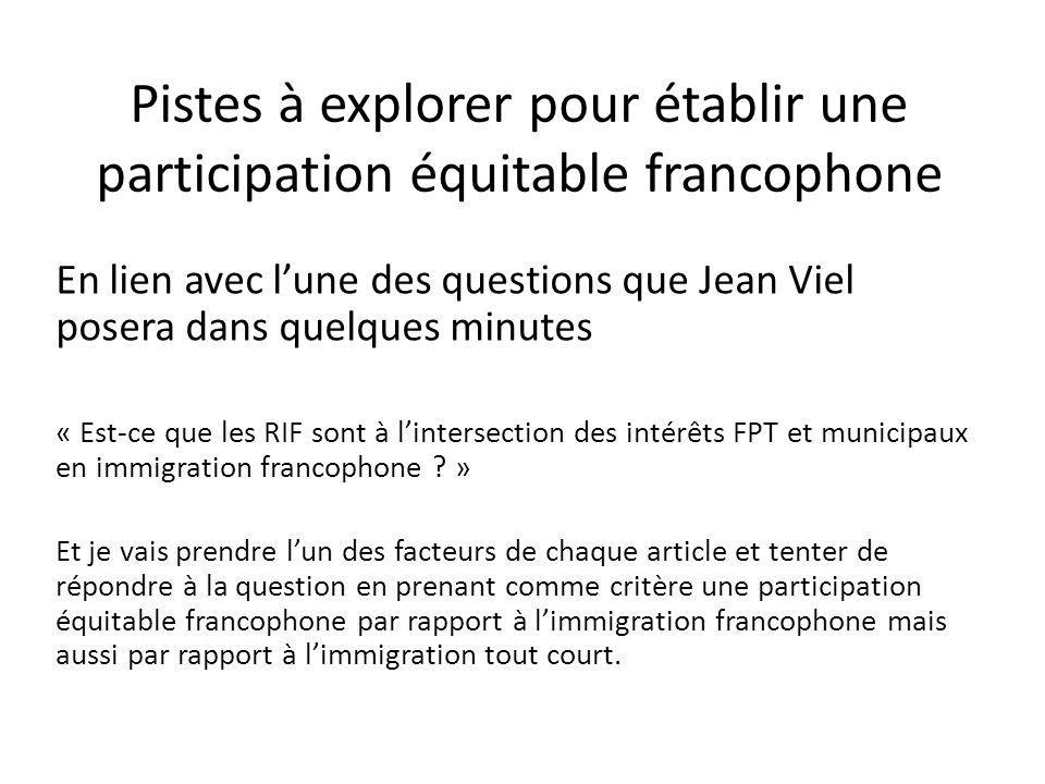 Pistes à explorer pour établir une participation équitable francophone En lien avec lune des questions que Jean Viel posera dans quelques minutes « Est-ce que les RIF sont à lintersection des intérêts FPT et municipaux en immigration francophone .