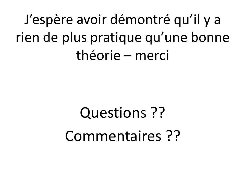 Jespère avoir démontré quil y a rien de plus pratique quune bonne théorie – merci Questions ?.