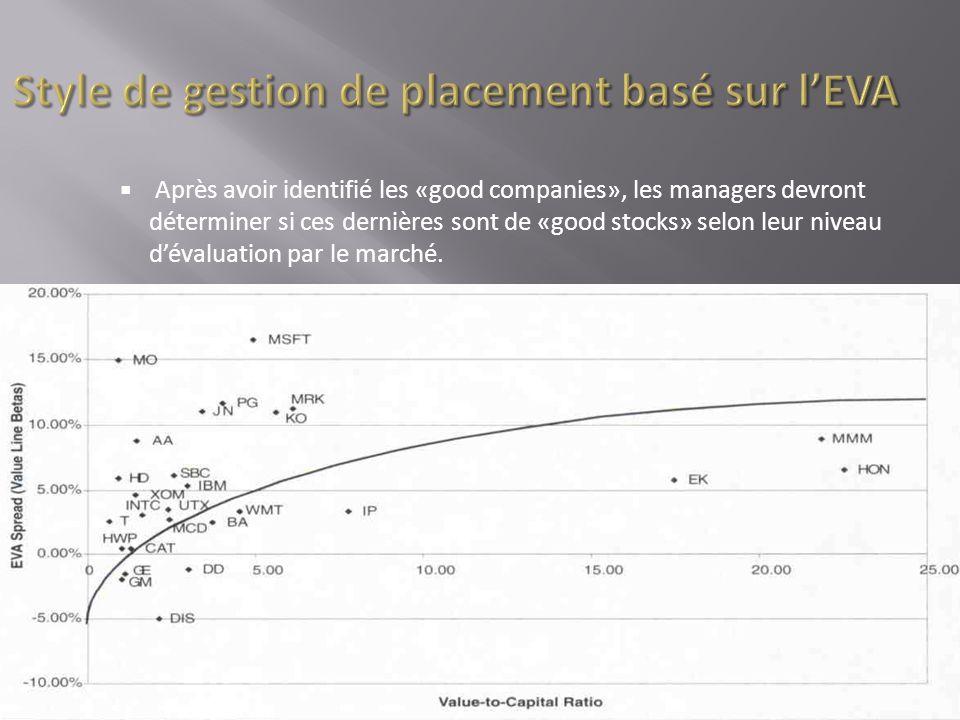 Après avoir identifié les «good companies», les managers devront déterminer si ces dernières sont de «good stocks» selon leur niveau dévaluation par l