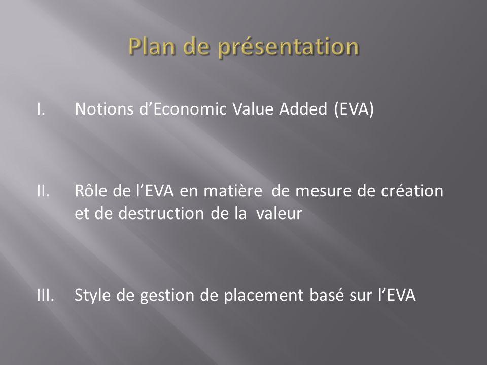 I.Notions dEconomic Value Added (EVA) II.Rôle de lEVA en matière de mesure de création et de destruction de la valeur III.Style de gestion de placemen