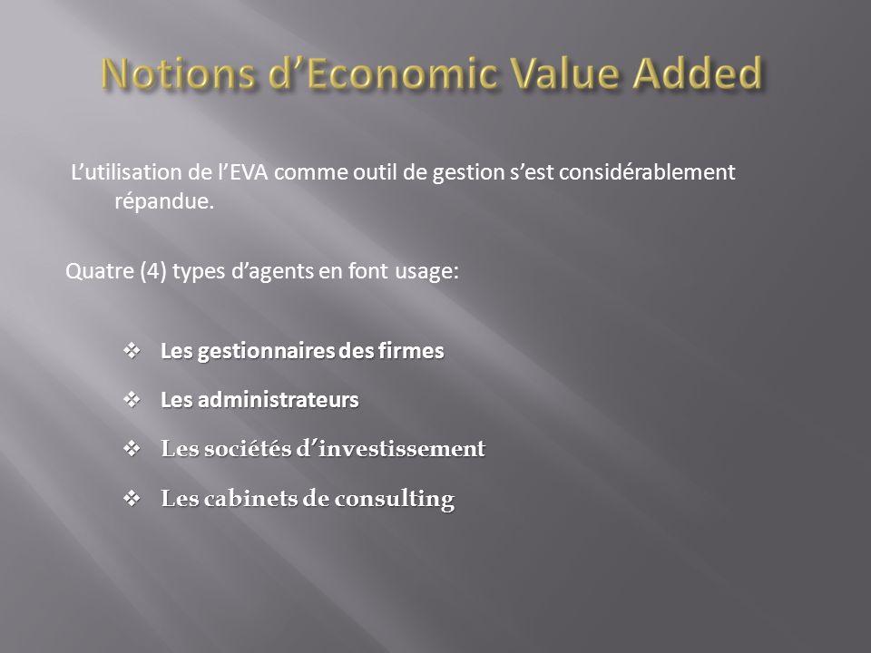 Lutilisation de lEVA comme outil de gestion sest considérablement répandue. Quatre (4) types dagents en font usage: Les gestionnaires des firmes Les g