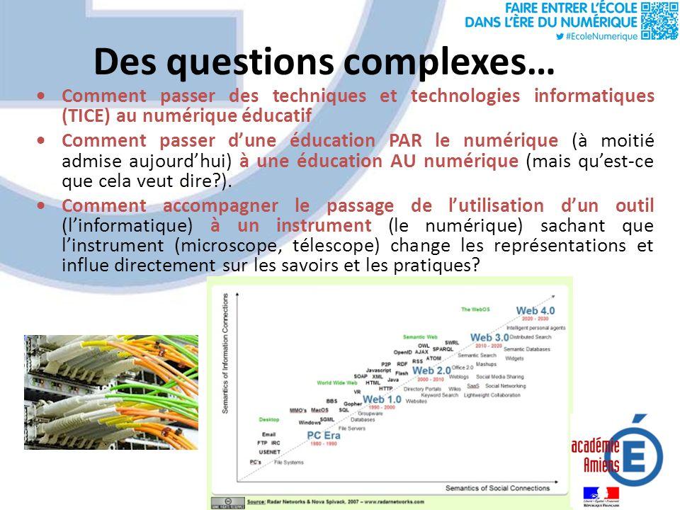 Des questions complexes… Comment passer des techniques et technologies informatiques (TICE) au numérique éducatif Comment passer dune éducation PAR le numérique (à moitié admise aujourdhui) à une éducation AU numérique (mais quest-ce que cela veut dire ).