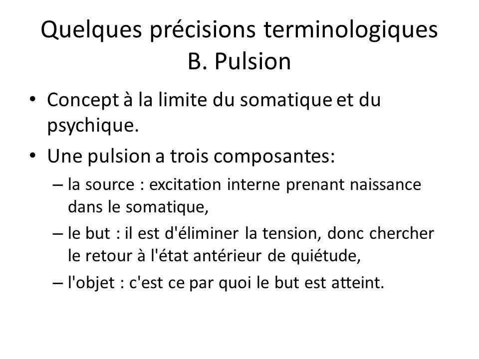 Quelques précisions terminologiques B.Pulsion Concept à la limite du somatique et du psychique.