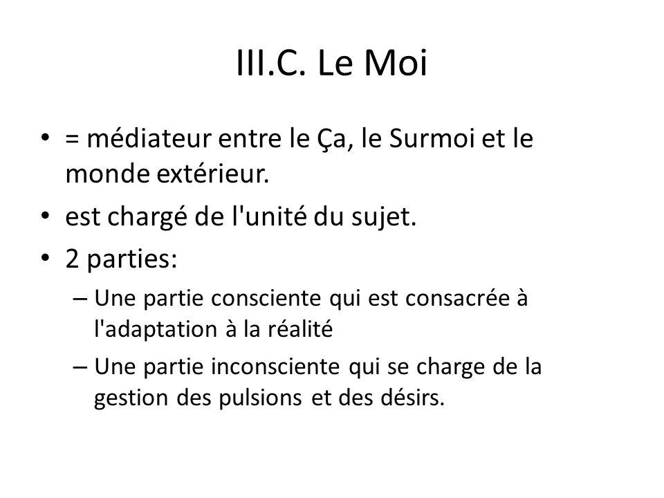 III.C.Le Moi = médiateur entre le Ça, le Surmoi et le monde extérieur.