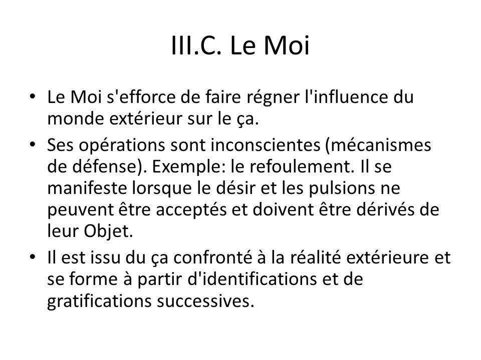 III.C.Le Moi Le Moi s efforce de faire régner l influence du monde extérieur sur le ça.