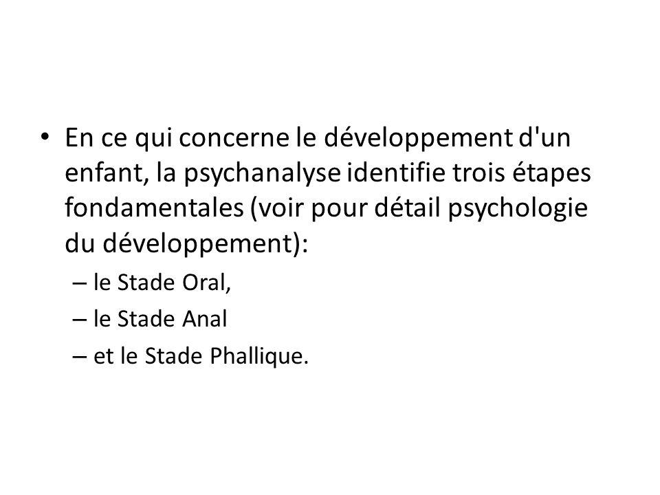 En ce qui concerne le développement d un enfant, la psychanalyse identifie trois étapes fondamentales (voir pour détail psychologie du développement): – le Stade Oral, – le Stade Anal – et le Stade Phallique.