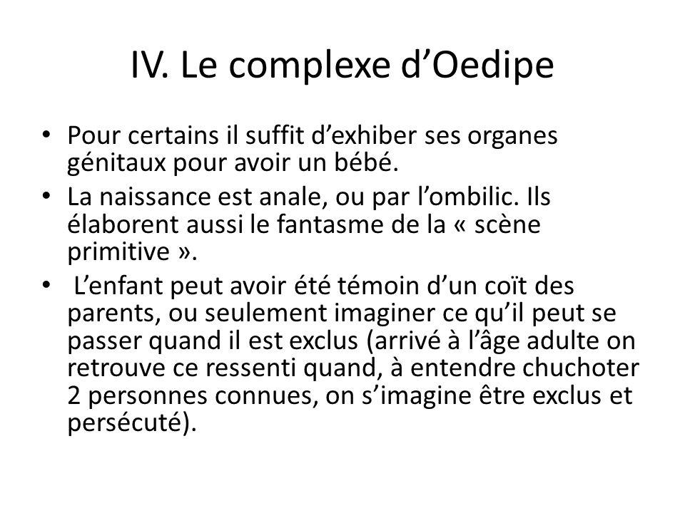 IV.Le complexe dOedipe Pour certains il suffit dexhiber ses organes génitaux pour avoir un bébé.
