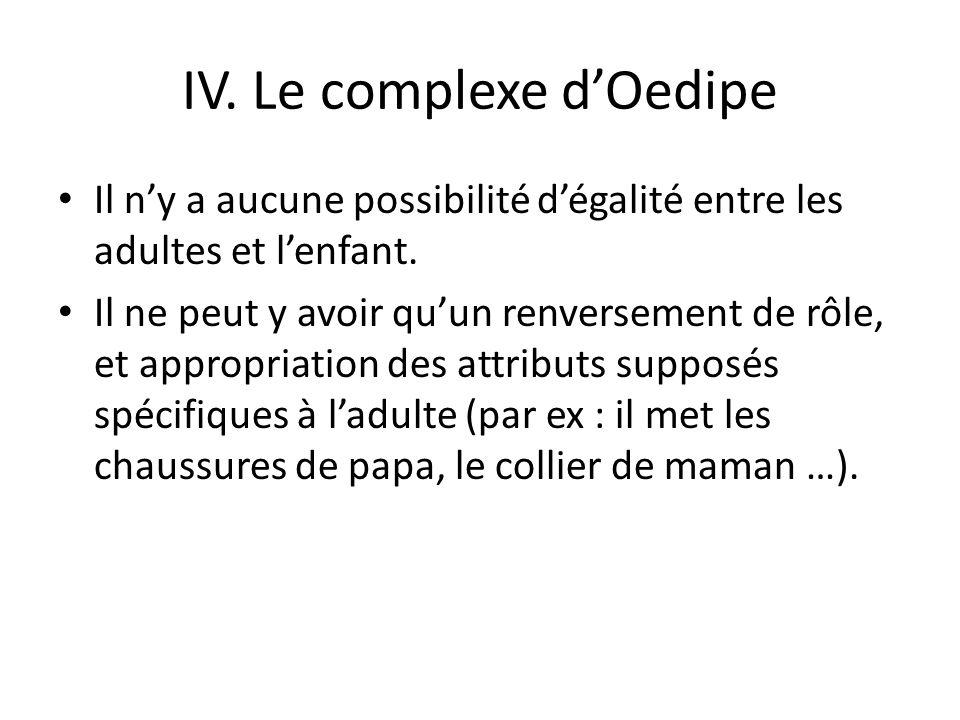 IV.Le complexe dOedipe Il ny a aucune possibilité dégalité entre les adultes et lenfant.