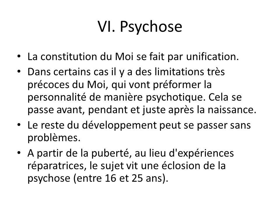 VI.Psychose La constitution du Moi se fait par unification.
