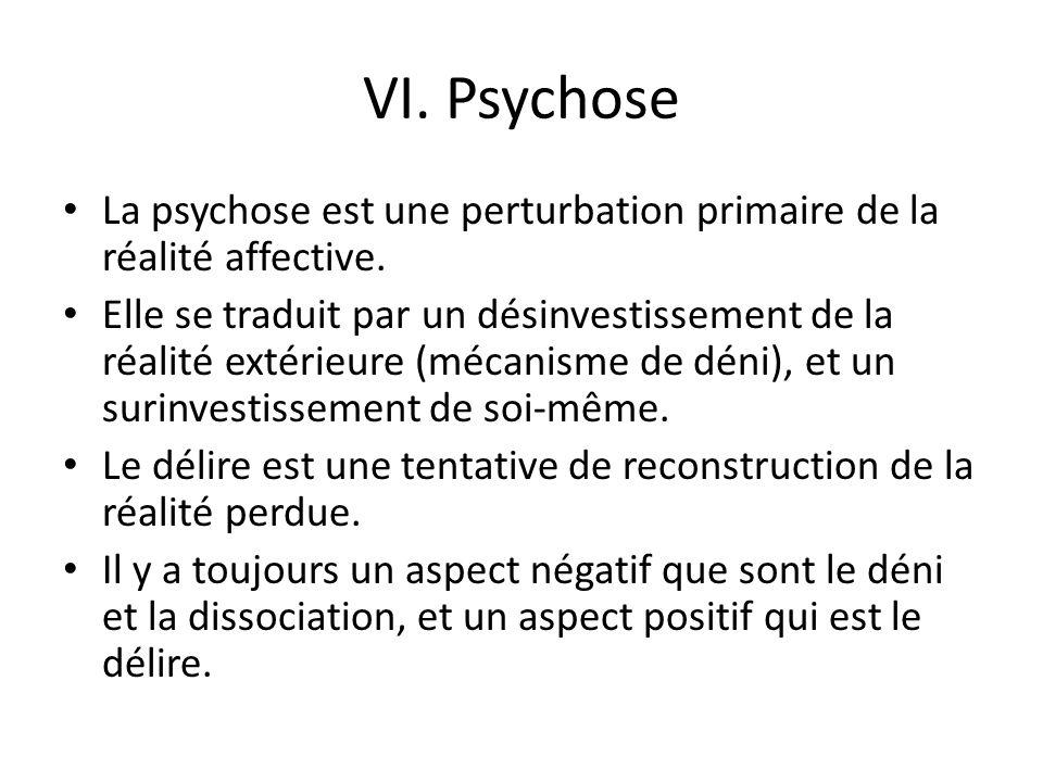 VI.Psychose La psychose est une perturbation primaire de la réalité affective.