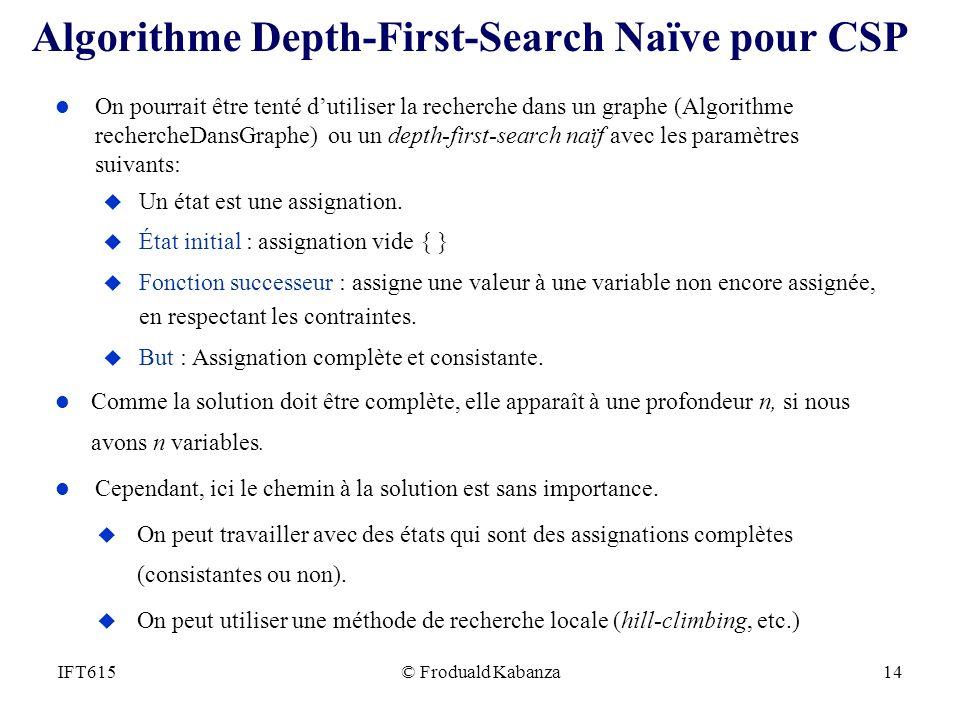 © Froduald Kabanza14IFT615 Algorithme Depth-First-Search Naïve pour CSP l On pourrait être tenté dutiliser la recherche dans un graphe (Algorithme rec