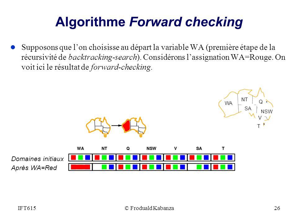 © Froduald Kabanza26IFT615 Algorithme Forward checking l Supposons que lon choisisse au départ la variable WA (première étape de la récursivité de bac