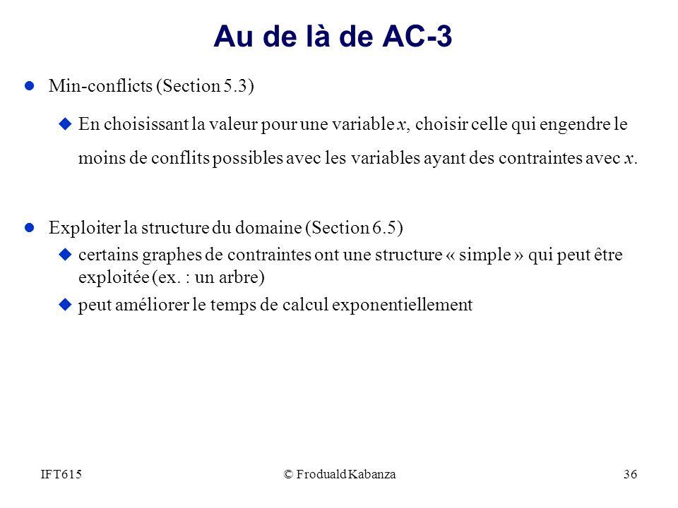 © Froduald Kabanza36IFT615 Au de là de AC-3 l Min-conflicts (Section 5.3) u En choisissant la valeur pour une variable x, choisir celle qui engendre l
