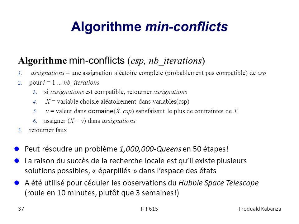Algorithme min-conflicts Algorithme min-conflicts (csp, nb_iterations) 1. assignations = une assignation aléatoire complète (probablement pas compatib