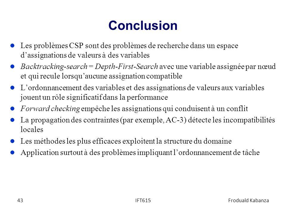 Conclusion l Les problèmes CSP sont des problèmes de recherche dans un espace dassignations de valeurs à des variables l Backtracking-search = Depth-F