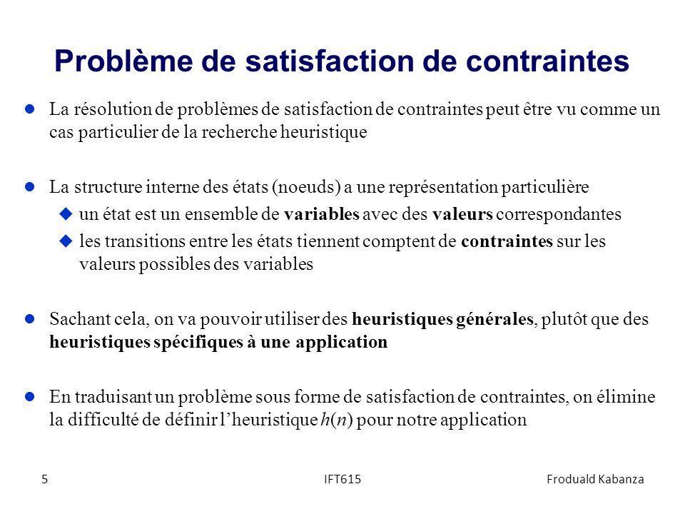 Problème de satisfaction de contraintes l La résolution de problèmes de satisfaction de contraintes peut être vu comme un cas particulier de la recher