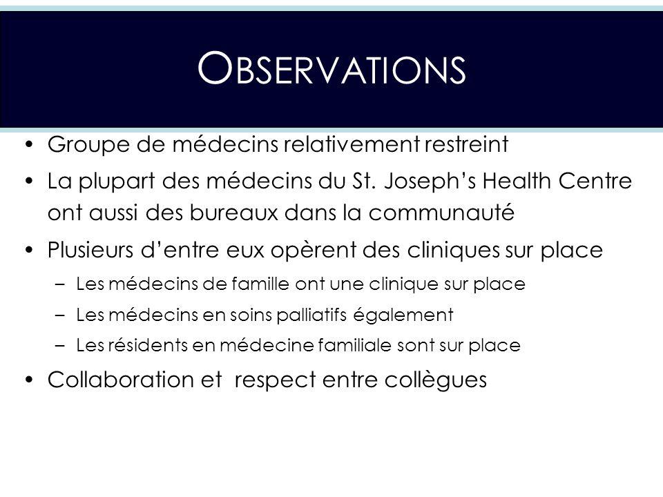 O BSERVATIONS Groupe de médecins relativement restreint La plupart des médecins du St.