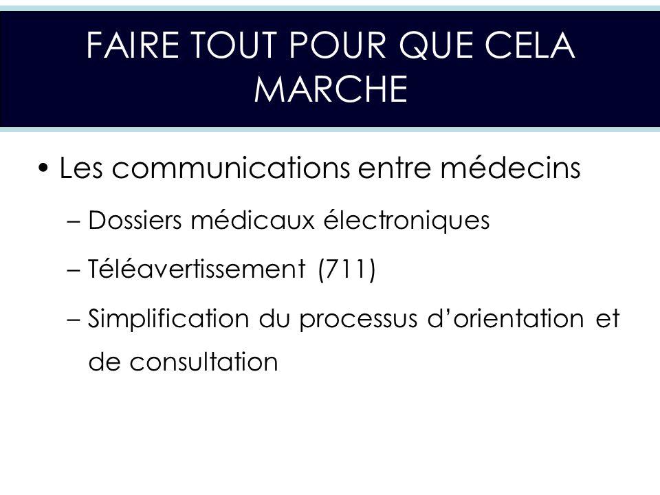 FAIRE TOUT POUR QUE CELA MARCHE Les communications entre médecins –Dossiers médicaux électroniques –Téléavertissement (711) –Simplification du processus dorientation et de consultation