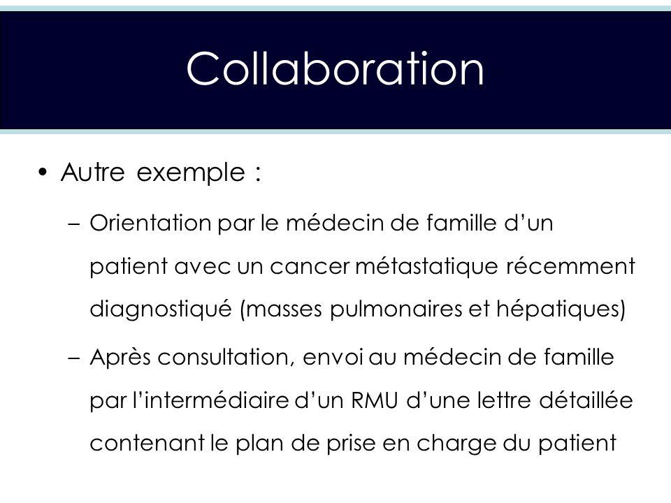 Collaboration Autre exemple : –Orientation par le médecin de famille dun patient avec un cancer métastatique récemment diagnostiqué (masses pulmonaires et hépatiques) –Après consultation, envoi au médecin de famille par lintermédiaire dun RMU dune lettre détaillée contenant le plan de prise en charge du patient