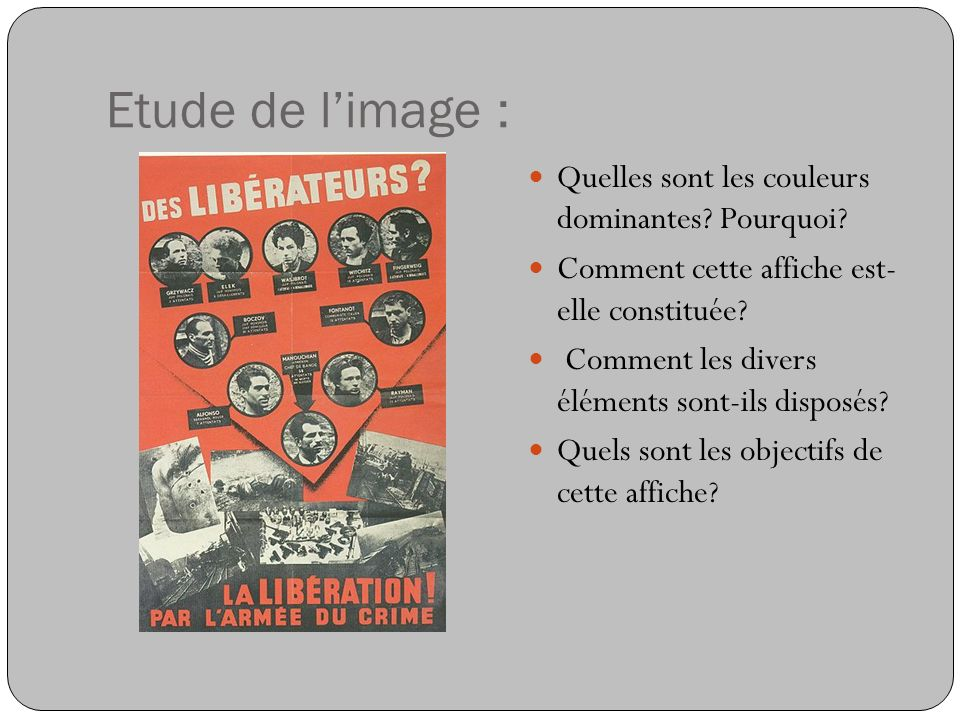 Cette affiche de propagande allemande de mars 1944 a pour objet de discréditer la résistance, aux yeux de la population française.