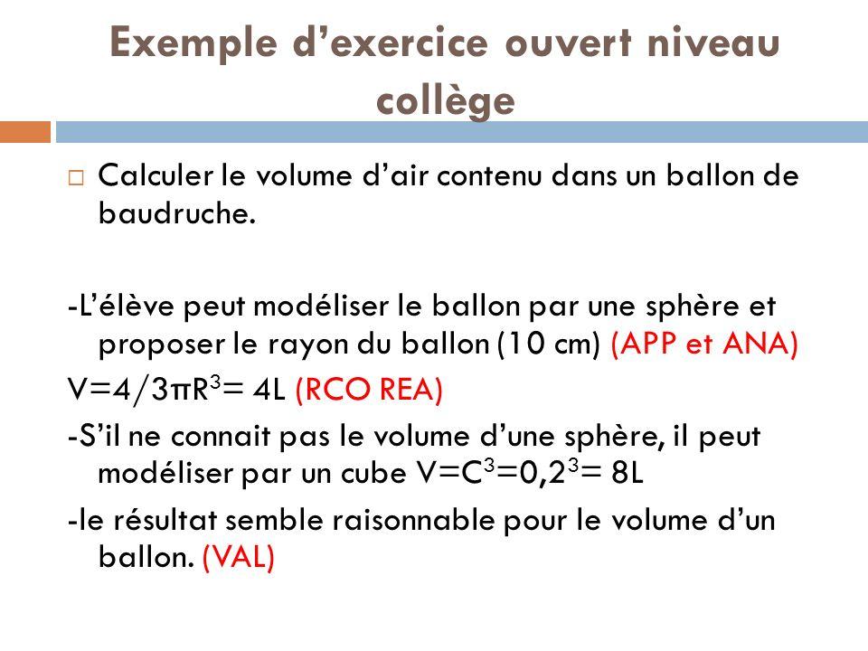 Exemple dexercice ouvert niveau collège Calculer le volume dair contenu dans un ballon de baudruche.