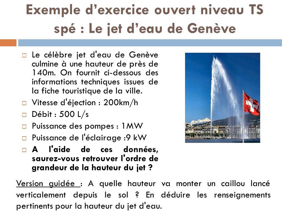 Exemple dexercice ouvert niveau TS spé : Le jet deau de Genève Le célèbre jet d eau de Genève culmine à une hauteur de près de 140m.