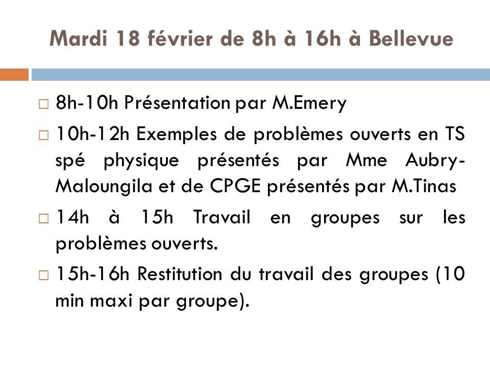Mardi 18 février de 8h à 16h à Bellevue 8h-10h Présentation par M.Emery 10h-12h Exemples de problèmes ouverts en TS spé physique présentés par Mme Aubry- Maloungila et de CPGE présentés par M.Tinas 14h à 15h Travail en groupes sur les problèmes ouverts.