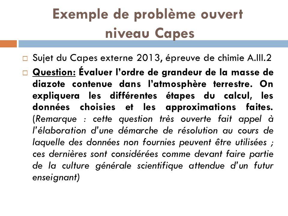 Exemple de problème ouvert niveau Capes Sujet du Capes externe 2013, épreuve de chimie A.III.2 Question: Évaluer lordre de grandeur de la masse de diazote contenue dans latmosphère terrestre.