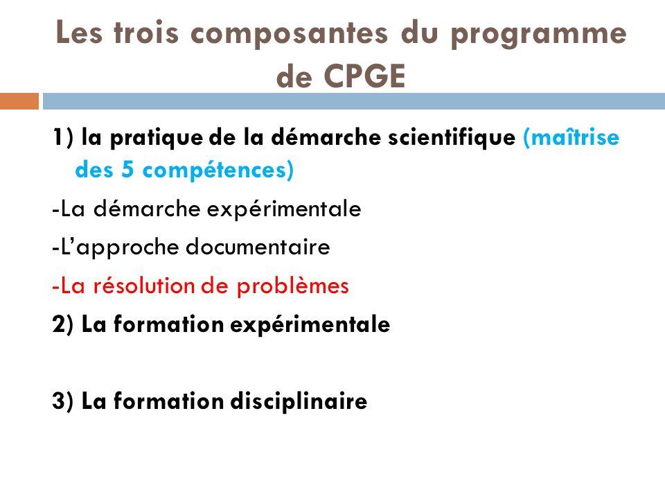 Les trois composantes du programme de CPGE 1) la pratique de la démarche scientifique (maîtrise des 5 compétences) -La démarche expérimentale -Lapproche documentaire -La résolution de problèmes 2) La formation expérimentale 3) La formation disciplinaire
