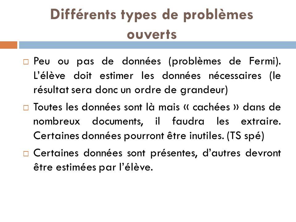 Différents types de problèmes ouverts Peu ou pas de données (problèmes de Fermi).
