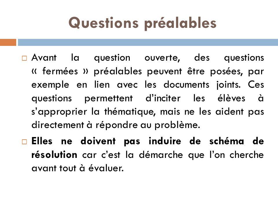 Questions préalables Avant la question ouverte, des questions « fermées » préalables peuvent être posées, par exemple en lien avec les documents joints.